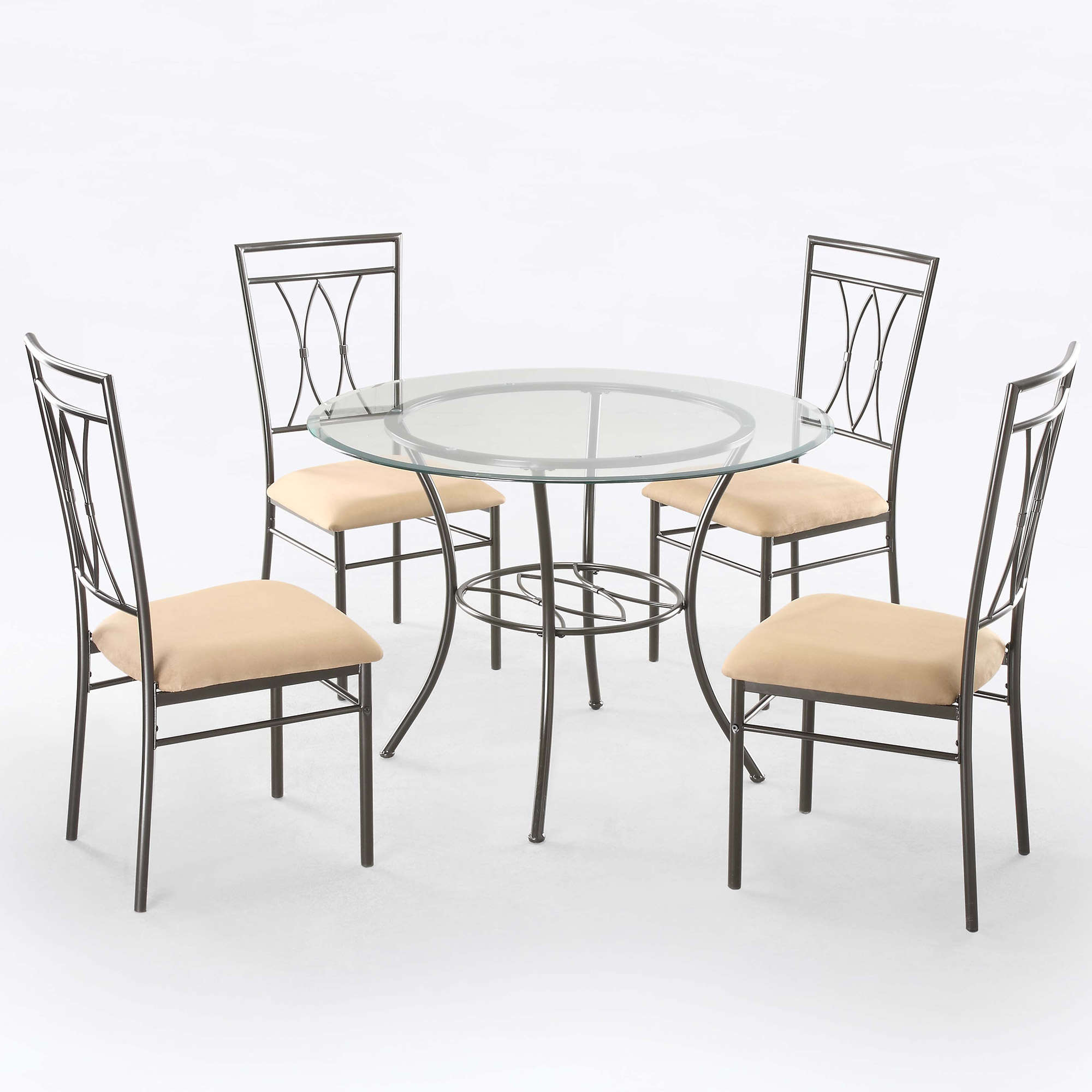 "Mainstays 5-Piece Glass and Metal Dining Set, 42"" Round Tabletop"