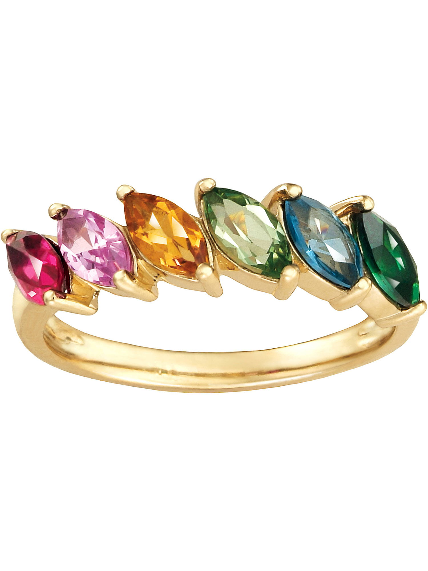 Birthstone Ring Sterling Silver or Yellow Gold Plated Silver