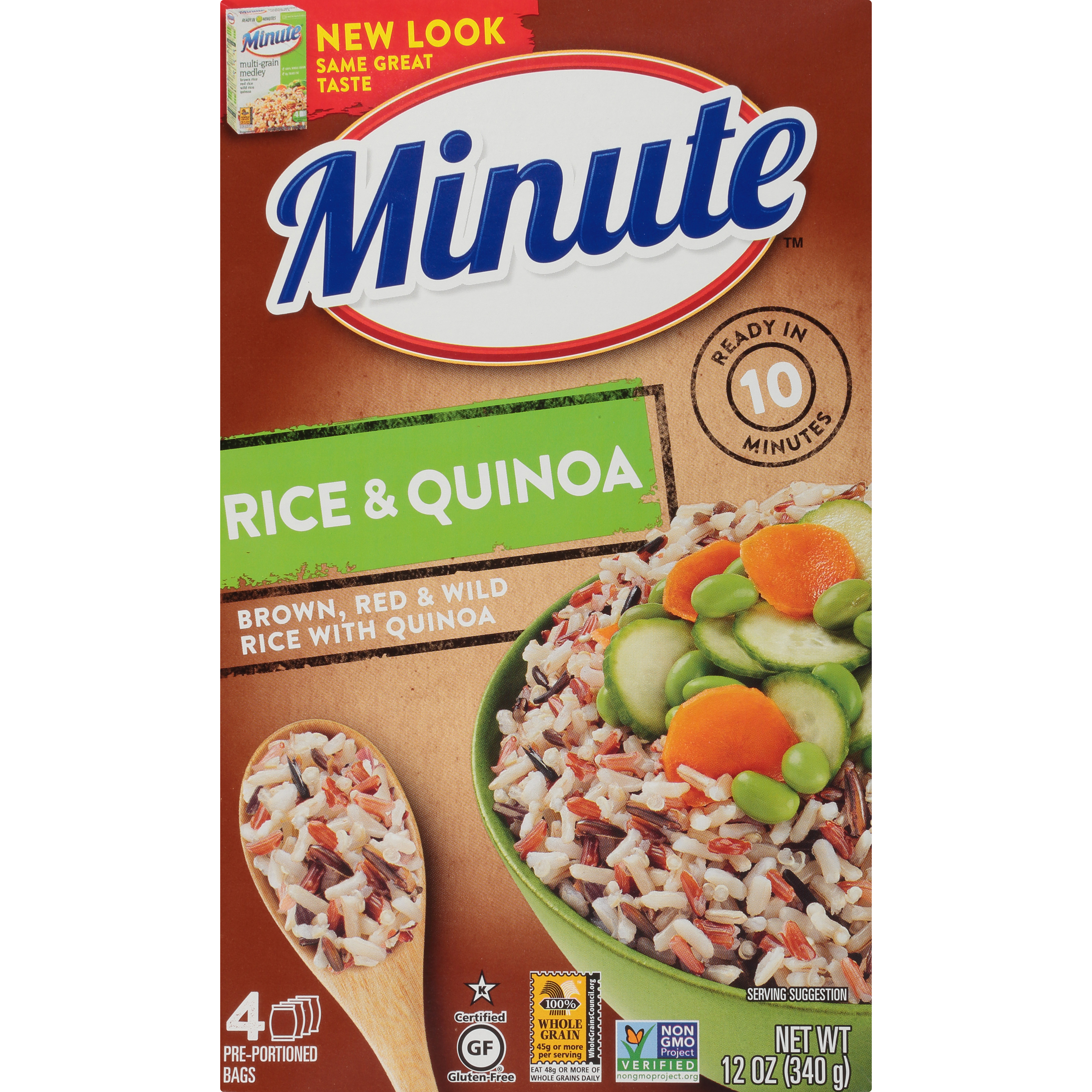 Minute Brown Red Wild Quinoa Multi-Grain Medley Rice, 3oz Bags, 4 Count