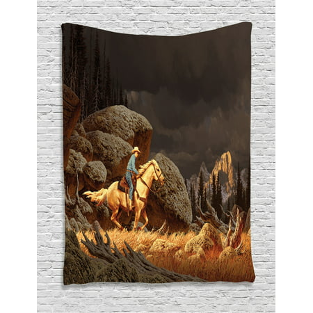 Western Decor Wall Hanging Tapestry, A Rock Mountain Scene Landscape With A Cowboy Riding Horse North America Style Folk Print, Bedroom Living Room Dorm Accessories, By Ambesonne Scene Folk Art