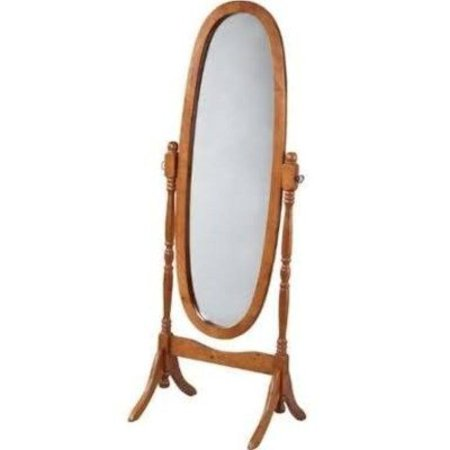 Legacy Decor Swivel Full Length Wood Cheval Floor Mirror  Oak Finish New