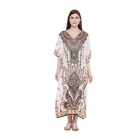 Cream Kaftan Dress for Women Paisley Plus Size Caftan Dress for Summer  Ladies Women\'s Plus Size Kaftan Full Length Free Size Long Women Dress