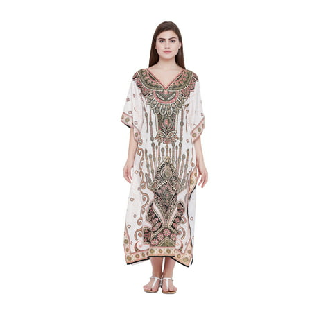 Oussum - Cream Kaftan Dress for Women Paisley Plus Size ...