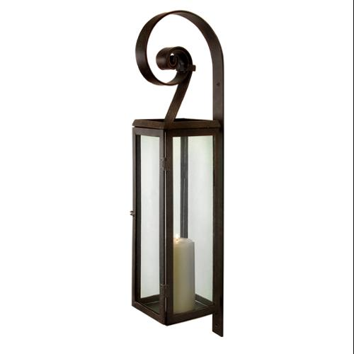 "28"" Rustic Scroll Rectangular Pillar Candle Lantern Wall Sconce"