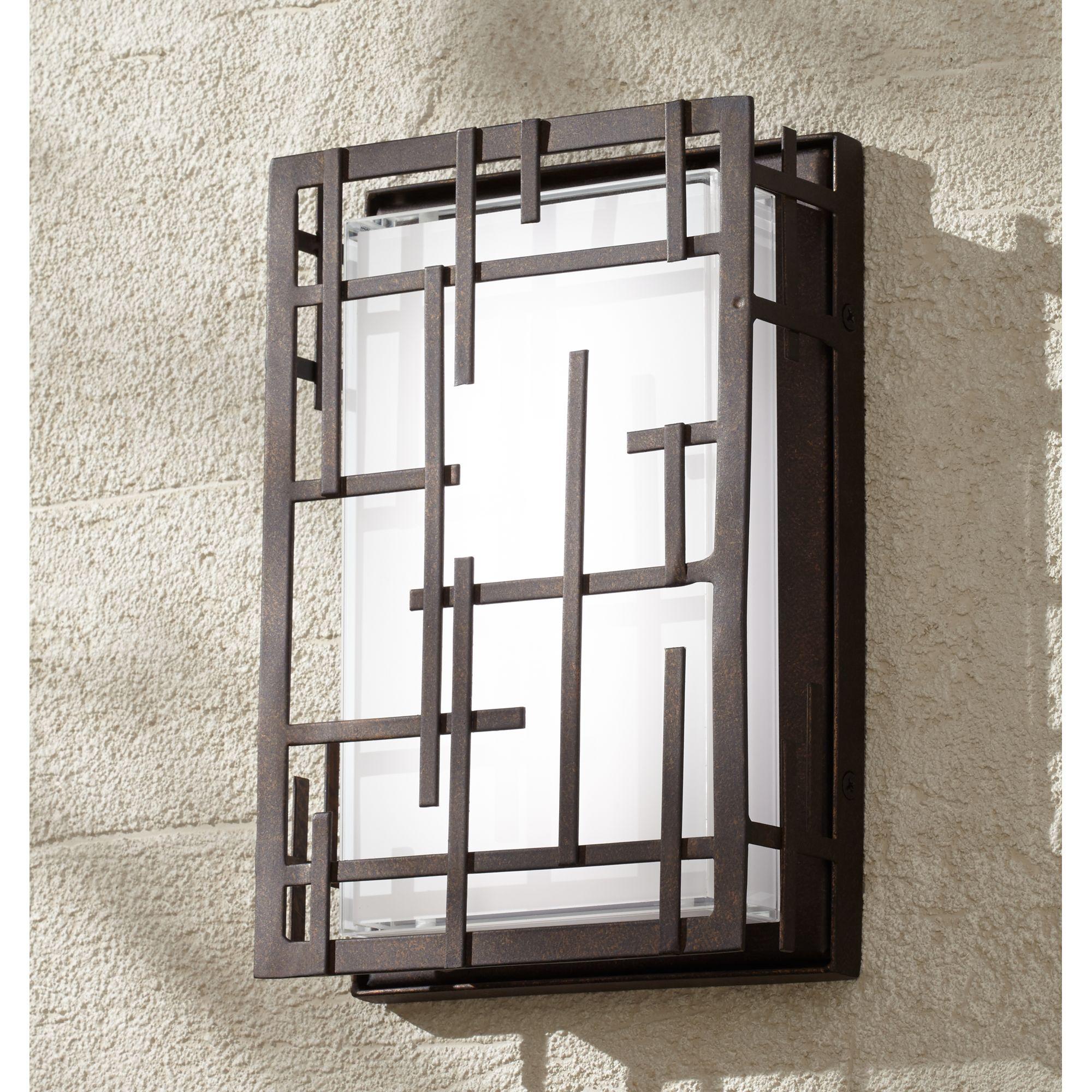 "Possini Euro Design Modern Lines 9 1/4"" High Bronze Led Outdoor Wall Light"