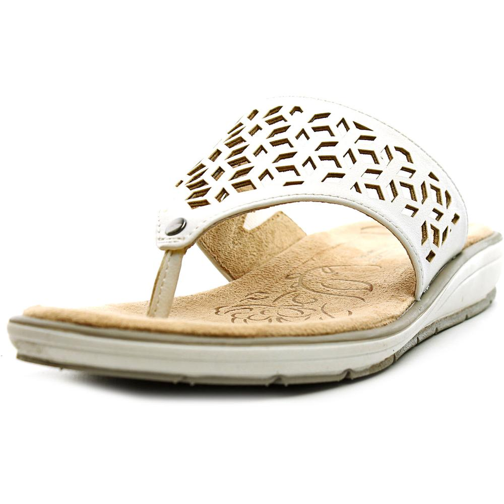 Naturalizer Ginny Women Open Toe Synthetic White Thong Sandal by Naturalizer