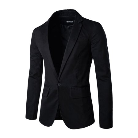 Men Notched Lapel One Button Closure Flap Pockets Casual Blazer Black M
