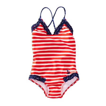 Azul Girls Red White Stripe In The Navy Ruffle One Piece Swimsuit