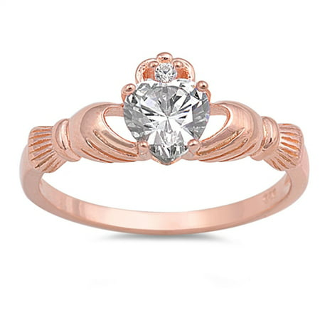 Sterling Silver Women's Flawless Colorless Cubic Zirconia Rose Gold-Tone Claddagh Heart Ring (Sizes 5-12) (Ring Size - Claddagh Rose Gold Ring