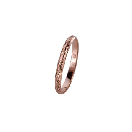 Hand Engraved Band - 14K solid pink rose gold hand engraved Hawaiian princess scroll band ring 2mm size 6