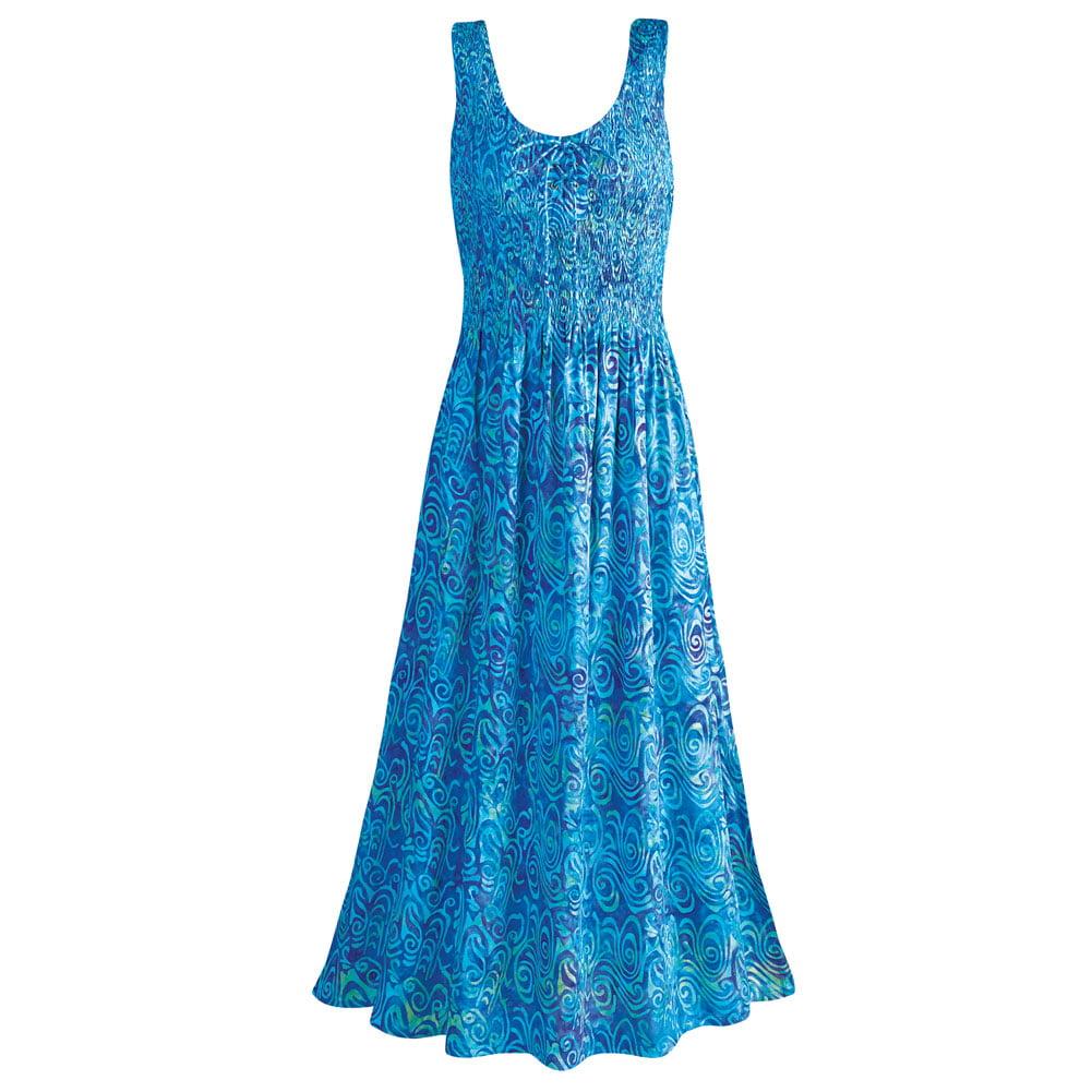 Women's Blue Caribbean Sleeveless Maxi Sun Dress - Hand B...