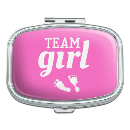 Team Girl Baby Pink Footprints Rectangle Pill Case Trinket Gift Box](Pink Baby Footprints)
