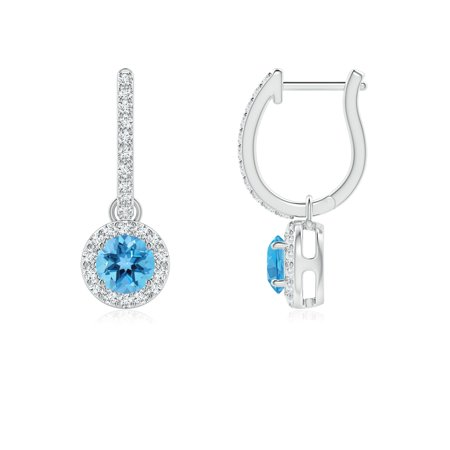 6c947fcba6e75 Round Swiss Blue Topaz Dangle Earrings with Diamond Halo in 14K White Gold  (4mm Swiss Blue Topaz) - SE0132SBTD-WG-AA-4