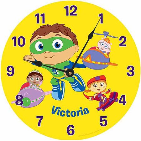 Childs Clock Personalized (Personalized Super Why! Reading Time Wall Clock)