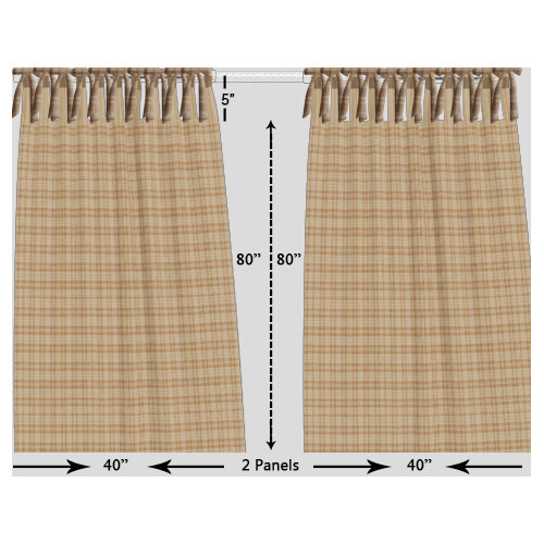 Patch Magic Plaid Tab Top Bed Curtain Panels (Set of 2)
