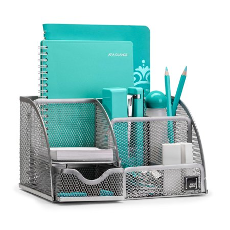 Mindspace Office Desk Organizer with 6 Compartments + Drawer + Pen & Pencil Holder | The Mesh Collection, Silver Peg Drawer Organizer