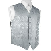 Italian Design, Men's Formal Tuxedo Vest for Prom, Wedding, Cruise , in Silver Paisley