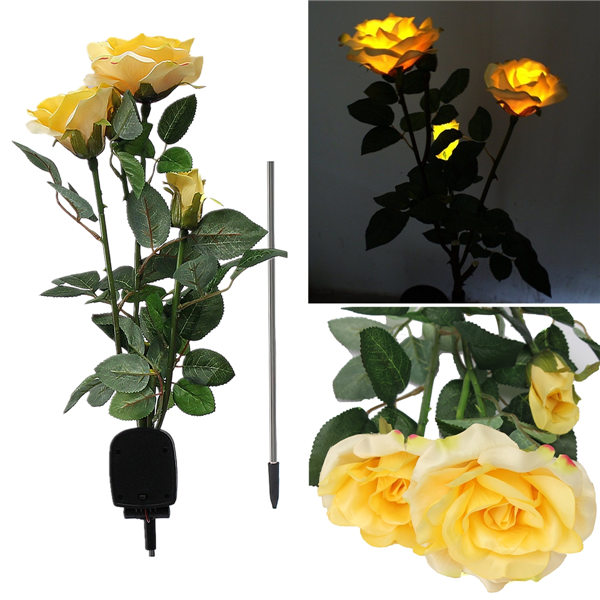 Outdoor Solar Panels Powered 3 Rose Flower 3 LED Light Stake Lamp Yard Garden Path Lawn Gifts Home Decal,Red color