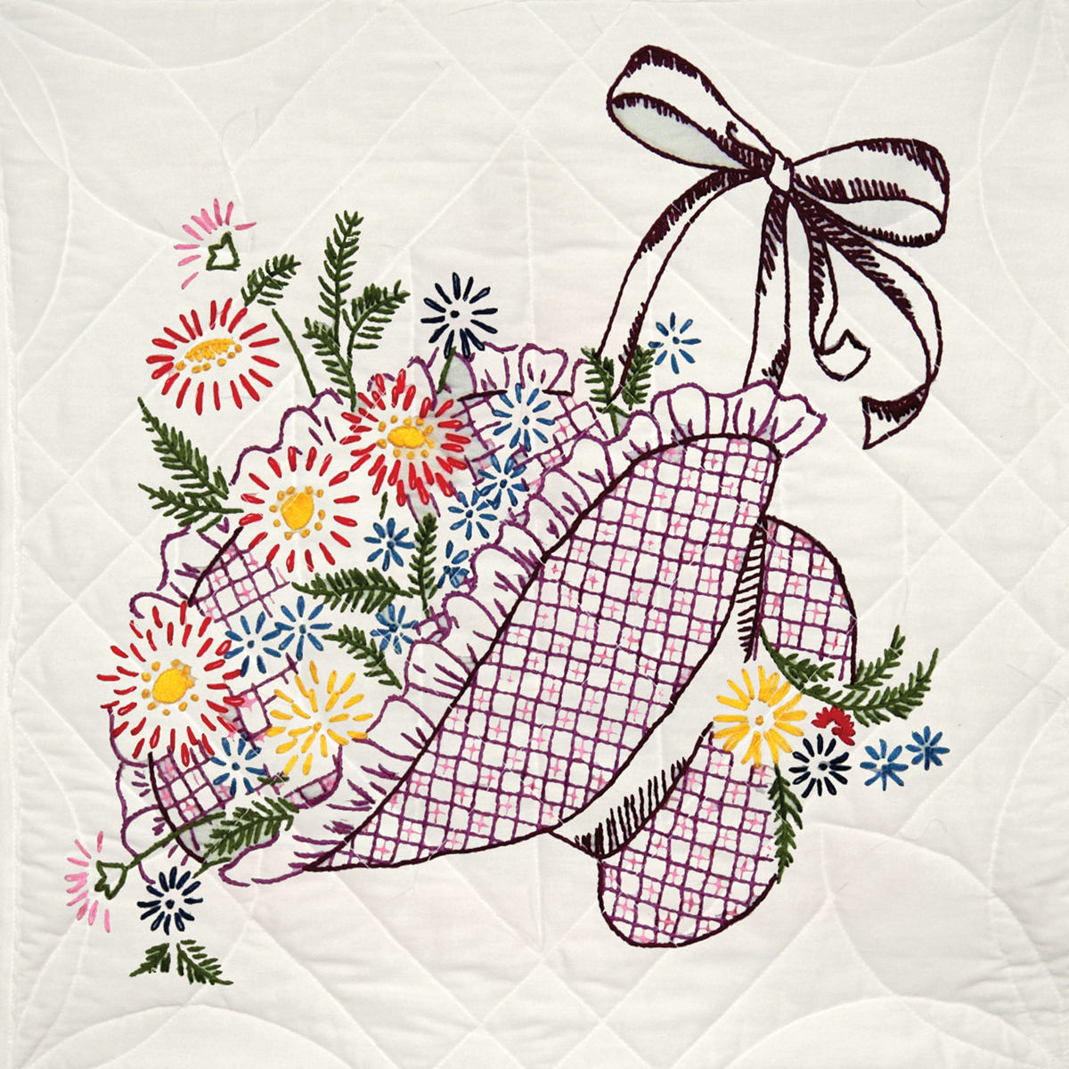 "Stamped Quilt Blocks 18""X18"" 6/Pkg-Flower Bonnet"