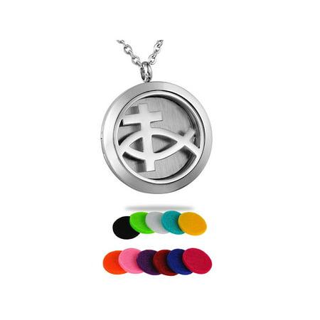 Jesus Fish Necklace (Jesus Fish Perfume Essential Oil Diffuser Necklace Locket)