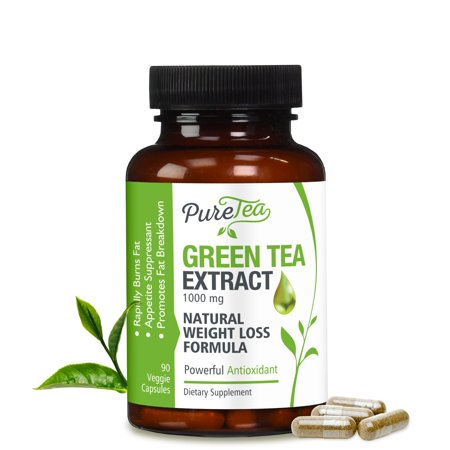 PureTea's Green Tea Extract Metabolism Booster w/EGCG for Weight Loss Vegetarian Capsules, 90
