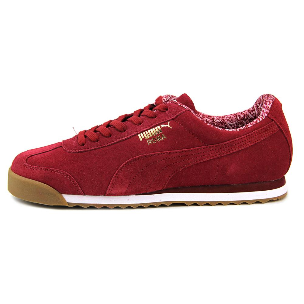 cheap for discount c4a0c 28dae Puma Roma Suede Paisley Men Round Toe Suede Burgundy Sneakers