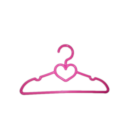 My Brittany's 6 Pink Heart Hangers for American Girl Dolls- Doll Clothes Hangers Children can keep their doll's wardrobe neat and organized with the My Brittany's Doll Clothes Hangers. They're made of a high-quality material and have a cute heart-shaped design. These American Girl doll accessories include cut-out notches that enable you to hang doll dresses and shirts with thin straps. The hangers also have a heart-shaped opening for securing accessories for outfits and an opening in the center for hanging leggings and pants. They're suitable for American Girl dolls and other 18  doll clothing. The hangers are available in a convenient six-count pack.