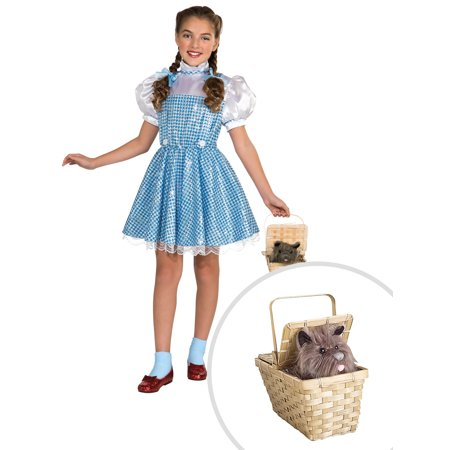 Wizard of Oz Dorothy Sequin Costume for Girls and Deluxe Toto Basket