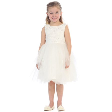 Little Girls Ivory Sparkle Floral Lace Tulle Layered Flower Girl Dress (Tulle Ivory Flower Girl Dresses)