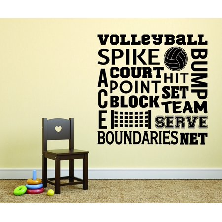 Custom Wall Decal : Volleyball Space Spike Bump Court Point Block Hit Set Team Serve Boundaries Net Quote 16x16 Inches