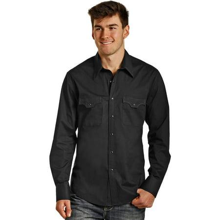 Rock   Roll Cowboy Mens And Long Sleeve Stretch Poplin Solid Snap Shirt   B2s3136
