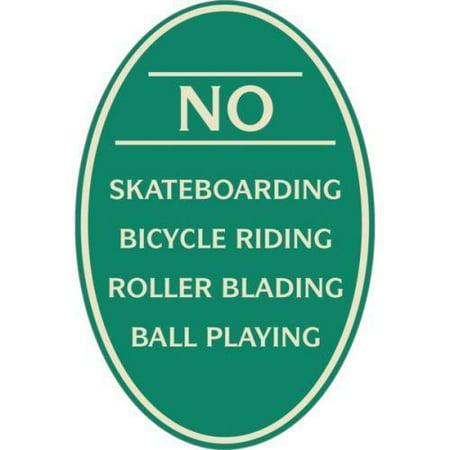 No Skateboarding Oval Designer Sign, Ivory On Green, 12 X
