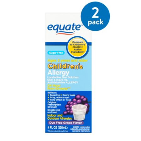 (2 Pack) Equate Sugar Free Children's Allergy Relief Loratadine Dye-Free Grape Suspension, 4