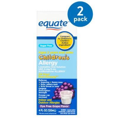 (2 Pack) Equate Sugar Free Children's Allergy Relief Loratadine Dye-Free Grape Suspension, 4 Oz