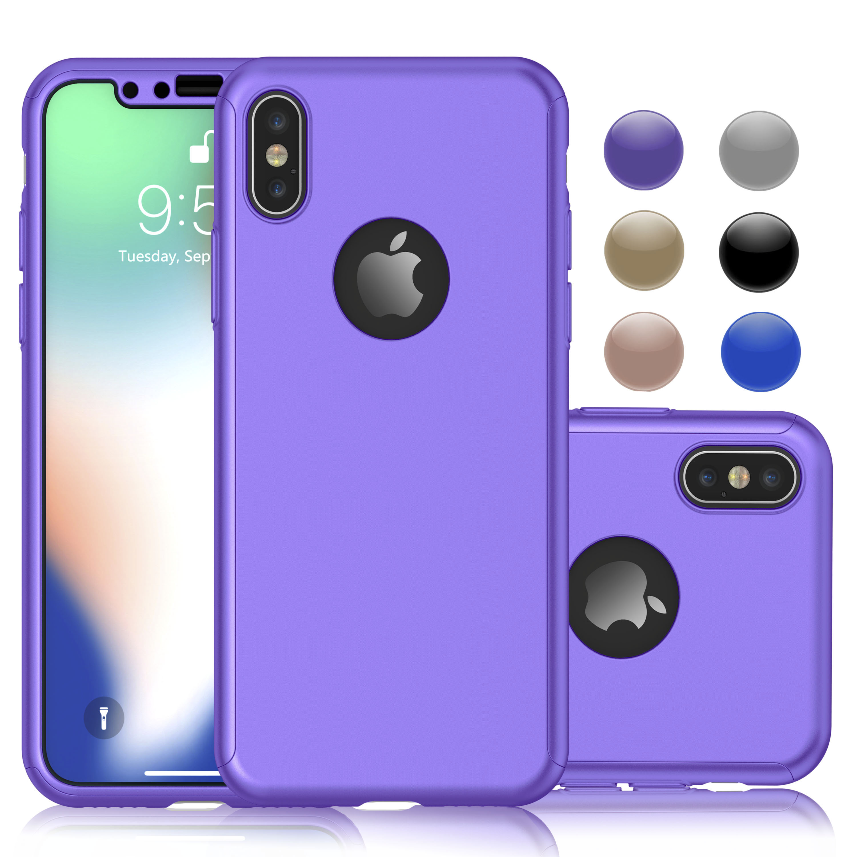 iPhone X Case, iPhone X Full Body Case, Njjex 360 Degree Protection Ultra Thin Hard Slim Case Coated Non Slip Matte Surface with Screen Protector For Apple iPhone X 2017 / iPhone 10 Release -Blue