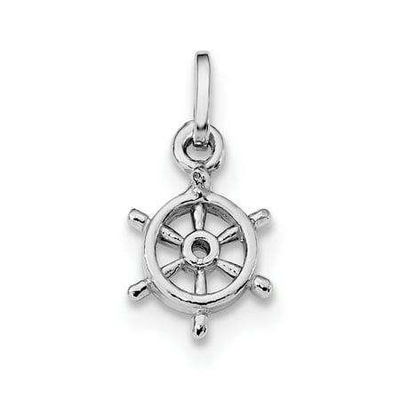 Sterling Silver Rhodium Plated Polished Captain's Wheel Charm Captains Wheel Charm