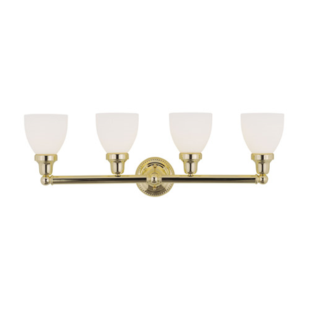 Brass 30' Accent Light - Bathroom Vanity 4 Light With Satin Opal White Glass Polished Brass size 30 in 400 Watts - World of Crystal