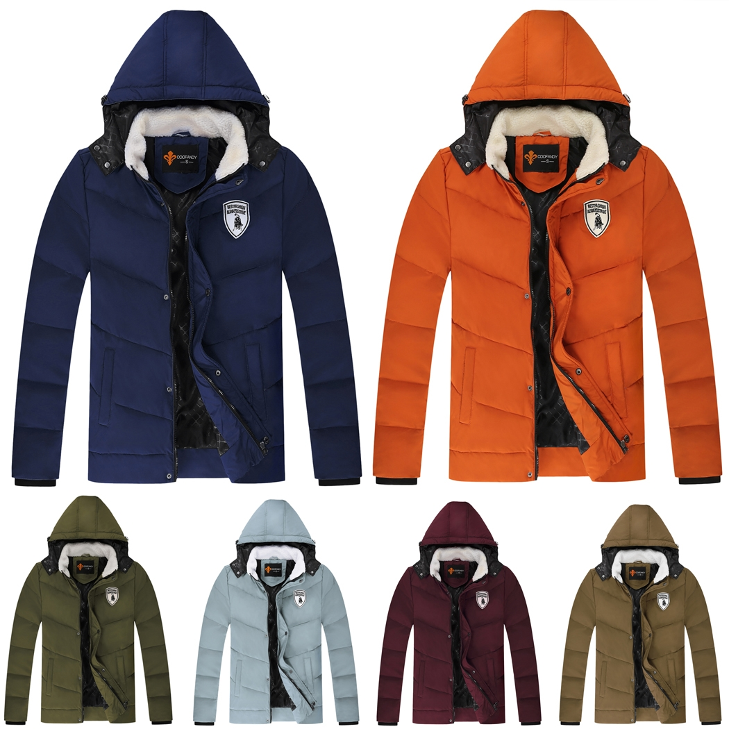 COOFANDY Men Winter Casual Hooded Long Sleeve Solid Thick Wadded Padded Jacket SMT WT002817