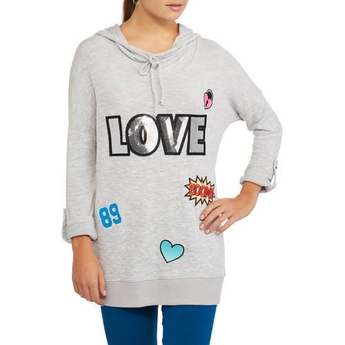 No Boundaries Juniors' Cowl Neck Sequin Graphic Pullovers