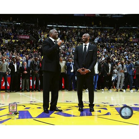 Magic Johnson & Kobe Bryant during Bryants jersey retirement ceremony on December 18 2017 at STAPLES Center in Los Angeles California Photo Print](Retirement Center Pieces)