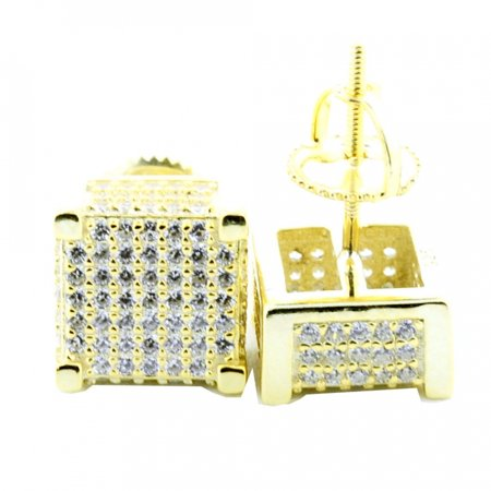 Cube Sterling Silver Earrings - 9mm Mens Cube Earrings Yellow Gold Tone Sterling Silver Pave Set CZ Screw Back