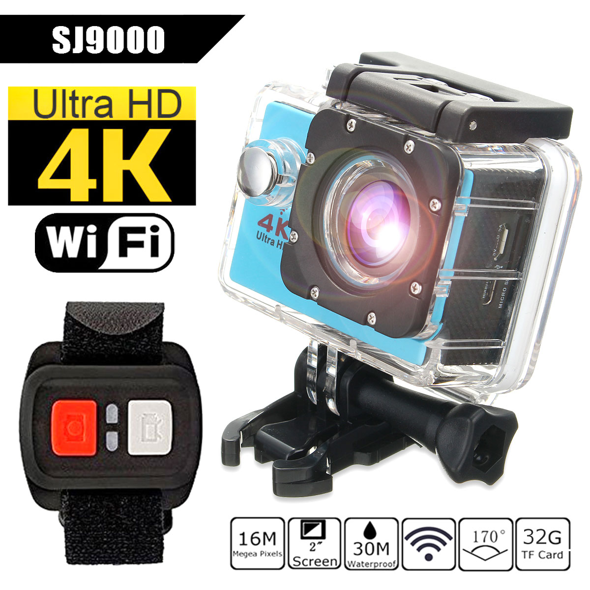 "Waterproof 2.0"" LCD Screen 4K SJ9000 Wifi 1080P HD Sports Action Camera DVR Cam Camcorder"