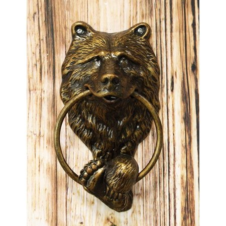 Ebros Gift Rustic Western Forest Grizzly Bear Head with Foot and Paw Cast Aluminum Door Knocker Figurine Decorative Knockers Themed Bears for Cabin Lodge Mountain Cottage Home Accent Decor Hardware