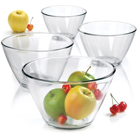 Anchor Hocking Contemporary Clear Glass 4 Piece Nesting Serving Bowl Set