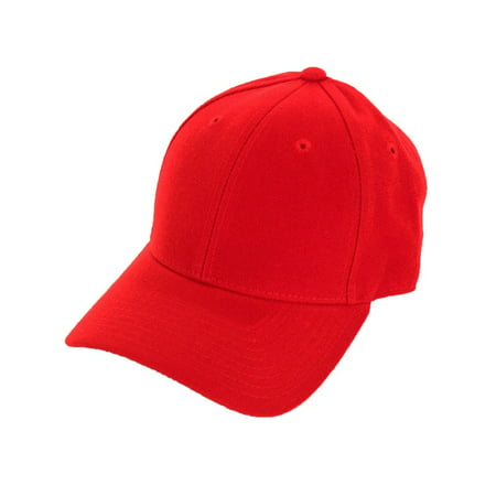 Decky Men's Fitted Blank Curved Brim Baseball Hat (Scarlet Fitted Cap)