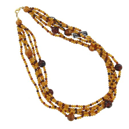 Brown Tan Genuine Lucite Multi Strand Beaded Faux Amber (Genuine Multi Strand)