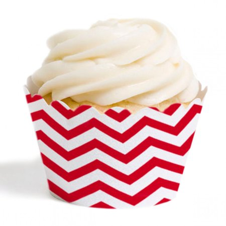 Dress My Cupcake Standard Cupcake Wrappers, Chevron, Red, Set of 12](Red Chevron)