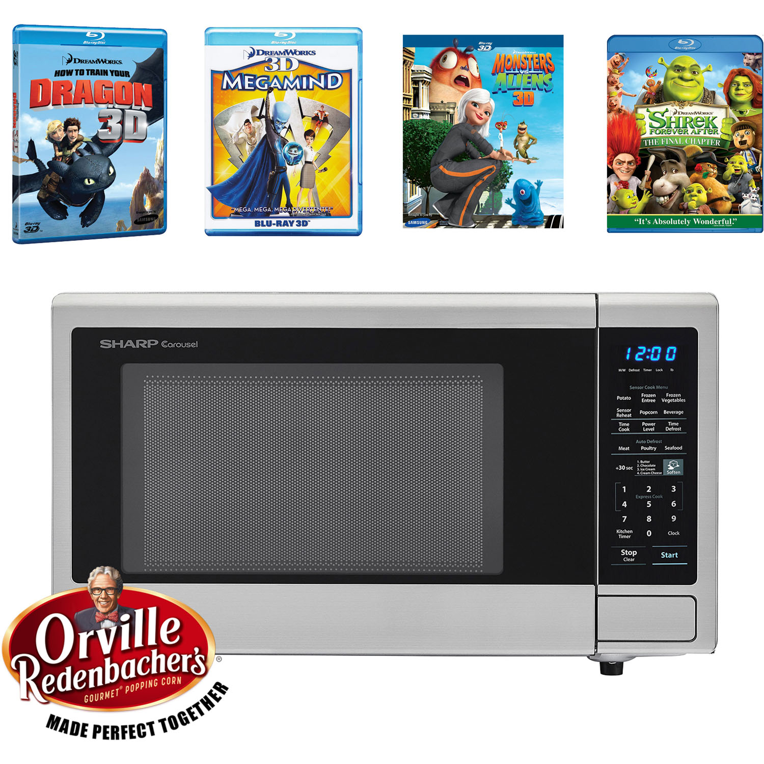 SHARP's Movie Night with Orville Redenbacher's Certified 1.4 cu. ft. Carousel Microwave Oven and 4 Blu-ray 3D Movies