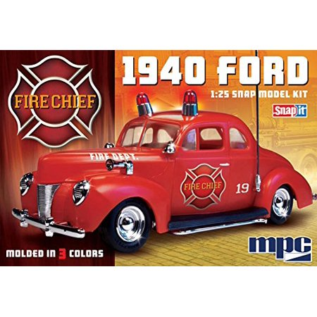 Scale Snap Together Plastic Model (815/12 1/25 1940 Ford Fire Chief Super SNAP, 1940 Ford Fire Chief Snap it Plastic Model Kit by MPC 1/25 Scale By MPC)