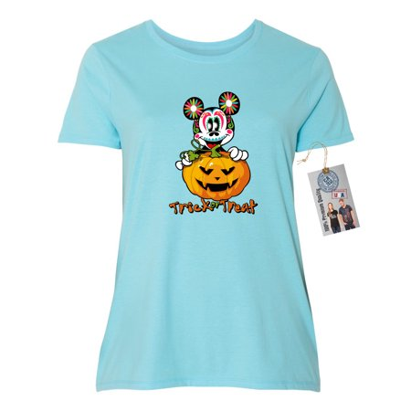 Womens Plus Size Short Sleeve Shirt Trick Or Treat Halloween - Halloween Plus Size Shirts